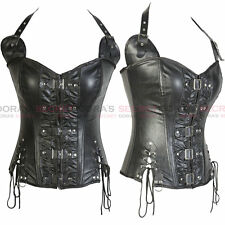 Women Sexy Strap Faux Leather Overbust Zipper Corset Lace up Back Bustier Buckle