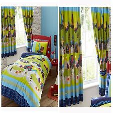 DIGGERS DUVET COVER SET IN SINGLE, MATCHING LINED CURTAINS KIDS BEDROOM RANGE
