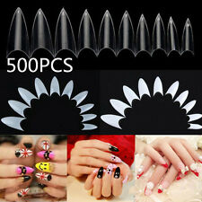 500PCS French Nail Tips UV Gel False Point Stiletto Half Nail Art Patch Acrylic