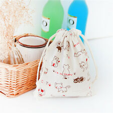 Draw String Cotton Linen Clothing Storage Bag Gift Bag Happy Cat Paw C9 S#