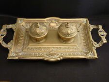 Vintage Ornate French STYLE  brass DOUBLE  Ink Well
