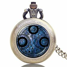 Retro Doctor Who Time Lord Seal Necklace Pocket Watch Xmas Gift 3 Color Pattern