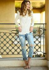 MACHINE JEANS Ripped Distressed Destroyed Denim Ex Boyfriend Cropped Sandra