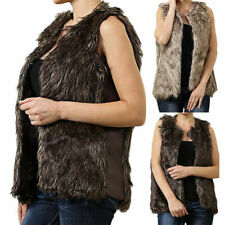 Faux Fur and Leather Sides Sleeveless Vest with Front Hook Casual Poly S M L