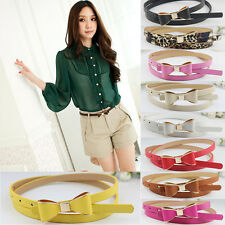 Hot Fashion Women Candy Color Big Bowknot PU Leather Thin Skinny Waistband Belt
