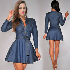 Women Casual Pleated Denim Dress Long Sleeve Slim Sexy Short Mini Jean Dress