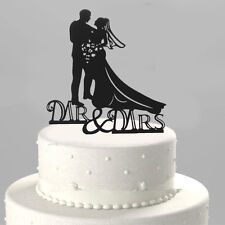 New Romantic Mr and Mrs Heart Wedding Cake Topper Decor Bride & Groom