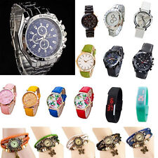 NEW Womens Unisex Leather Stainless Analog Quartz Vogue Wrist Watch Mixed Style