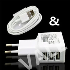 3 Ports EU Plug USB Wall Travel AC Charger Adapter + USB Cable For Smart Phones