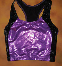 NWOT Axis Racer Back Tank Crop Top Foil Purple and Black Ladies Small 97132
