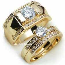 Set 18k Gold filled Mens womens couple wedding engagement ring band r280,245