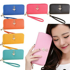 Elegant Lady Women Clutch Purse Leather Coin Wallet Phone Holder Zip Handbag Bag