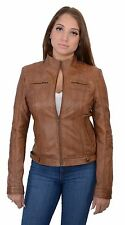 Ladies Whiskey Brown Lightweight Lambskin Leather Racing Jacket w Rivets