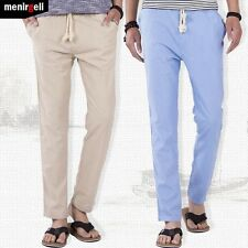 2016 New Summer Men's Fashion Slim Fit Cotton Linen Trousers Slacks Casual Pants