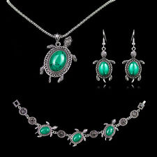 Tibetan Silver Turquoise Tortoise Charms Necklace Bracelet Earring Jewelry Set
