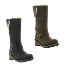 Caterpillar Anna Womens Black Brown Wide Fit Leather Cat Boots