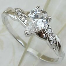 Size 5 6 7 8 9 hot classy nice White pear CZ gems jewelry gold filled Ring R1791