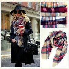 Ladies Winter Checked Scarf Blanket Women Large Tartan Wrap Shawl Plaid Pashmina