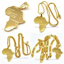 """23.6""""6mm,23.6""""2mm,17.7""""1mm NECKLACE AFRICA MAP PENDANT,SET,REAL CHIC 18K GOLD GP"""