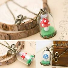 Women Retro Dried Mushroom Leaf Inside Glass Pendant Necklace Long Sweater Chain
