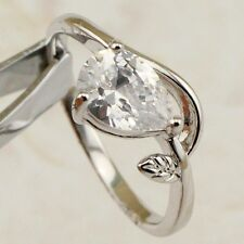 Size 5 6 Hot Nice Pear White CZ Gems Jewelry Gold Filled Lady Gift Ring R2335