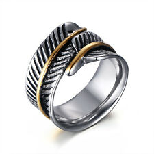 Vintage Fashion Stainless Steel Silver Band - Feather Wrap Rings Size 7-12 Men's