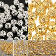 4/6/8/10 mm Fashion Round Filigree Spacer Beads Gold/Silver Plated For Handmade