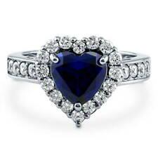 Silver Heart Shaped Simulated Sapphire CZ Halo  Engagement Ring 2.43 CT