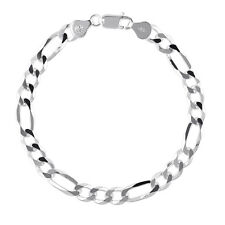 BERRICLE 925 Sterling Silver Figaro Chain Bracelet 7mm