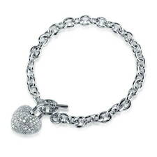 BERRICLE Silver-Tone CZ Heart Fashion Toggle Charm Bracelet