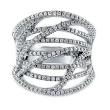 BERRICLE Sterling Silver CZ Woven Fashion Right Hand Cocktail Statement Ring