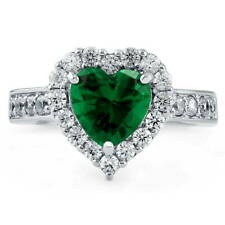 Silver 2.43 CT Heart Shaped Simulated Emerald CZ Halo  Promise Engagement Ring