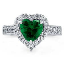 BERRICLE Silver Heart Shaped Simulated Emerald CZ Halo  Engagement Ring 2.43 CTW