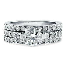 BERRICLE Sterling Silver Round CZ Solitaire Engagement Ring Set 1.9 Carat