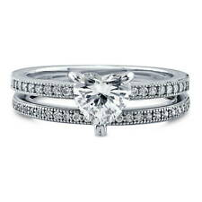 BERRICLE 925 Silver Heart Shaped CZ  Solitaire Engagement Ring Set 1.17 Carat