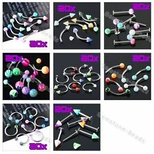 Set Mixed Steel Barbell Hoop UV Nose Lip Eyebrow Navel Stud Bar Ring Piercing