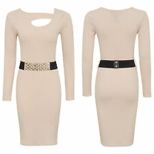 NEW WOMENS LADIES LONG SLEEVE ACCENTED OPEN CHEST DECORATION MIDI DRESS