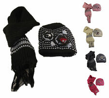 Luxury Knitted Ladies Hat & Scarf Set, Hand Made Winter Ski Gift, Style 8