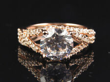Rose Gold Over 925 Silver Lab Diamond Swirled Solitaire Engagement Bridal Ring