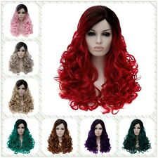 Wind Street Partial Color Million Long Curly Women Full Wig Synthetic Ombre Hair