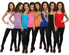 WOMENS LADIES PLAIN BASIC RIBBED CAMI STRAPPY SLEEVELESS VEST TOP T SHIRT 8-14