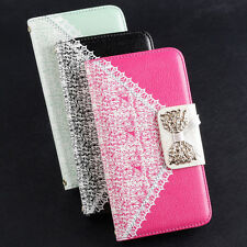 Stylish Leather Flip Wallet Pouch Bow Protect For Samsung For Apple Case Cover