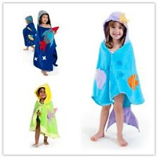 Children's Boys Girls Mermaid Fairy Rocket Hooded Beach Bath Towel Wrap Poncho