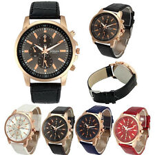 Unisex Geneva Watch Stainless Steel Leather Band Women Quartz Analog Wrist Watch