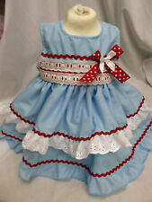 DREAM GIRLS SPANISH BLUE & RED RICRAC DRESS ALL SIZES AVAILABLE 0-3M UP TO 5-6Y