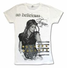 FERGIE SO DELICIOUS WHITE BABYDOLL T-SHIRT NEW OFFICIAL BLACK EYED PEAS JUNIORS