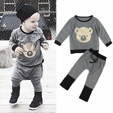 2pcs Infant Toddler Kids Baby Boys Girls Outfits T-shirt Tops+Pants Clothes Set