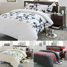 Floral Trail Duvet Cover Set & Pillow Cases, Reversible Bed Linen Quilt Sets