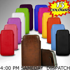 Samsung Galaxy S7 Pull Tab Strap Slip In PU Leather Pouch Case Cover Skin