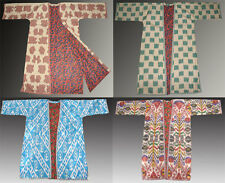 UZBEK SILK-COTTON IKAT ADRAS CHAPAN ROBE -  VARIATIONS
